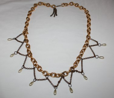 Vintage  Chain Belt Ornate with Faux Pearl Detail Boho Hippie