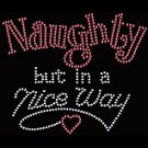 Naughty But In A Nice Way Rhinestud On A Black Shirt