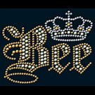 Queen Bee Rhinestone Printed On A Black OR White Shirt