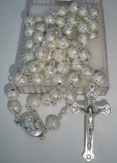 Silver Rosary with Holy Land Soil