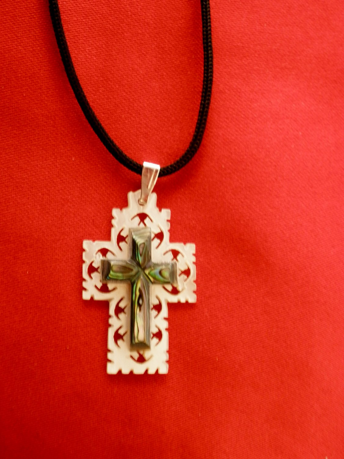 Mother of Pearl Cross Necklace 2