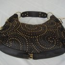 House Of Dereon Hip Hop Metal Brown Leather Hobo