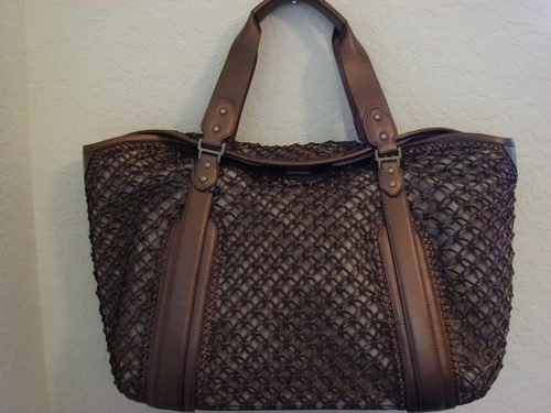 Cole Haan Woven Leather Bronze Large Carryall