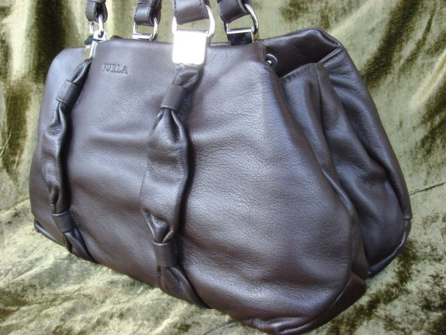 Furla Corolla Coffee Brown Leather Tote