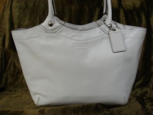 COACH Bleeker White Patent Tote F14483