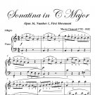 Sonatina in C Major Opus 36 Number 1 First Movement Easy Piano Sheet Music PDF