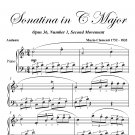 Sonatina in C Major Opus 36 Number 1 Second Movement Easy Piano Sheet Music PDF