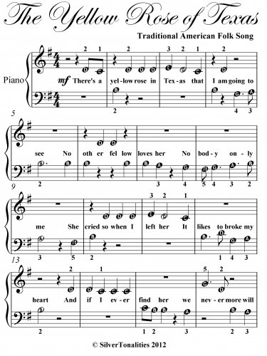 Yellow Rose of Texas Beginner Piano Sheet Music PDF