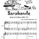 Sarabande Suite In D Minor HWV 437 Easiest Piano Sheet Music Tadpole Edition PDF