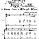 t Came Upon a Midnight Clear Easy Piano Sheet Music Tadpole Edition PDF