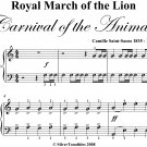 Royal March of the Lion Carnival of the Animals Easy Piano Sheet Music PDF