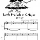 Little Prelude in C Major BWV 939 Easiest Piano Sheet Music PDF