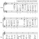 Huron Carol Twas in the Moon of Wintertime Beginner Piano Sheet Music PDF