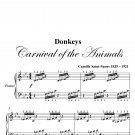 Donkeys Carnival of the Animals Beginner Piano Sheet Music PDF