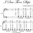 I Saw Three Ships Easy Intermediate Piano Sheet Music PDF