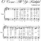 O Come All Ye Faithful Elementary Piano Sheet Music PDF