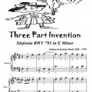 Three Part Invention Sinfonia BWV 793 in E Minor Easiest Piano Sheet Music Tadpole Edition