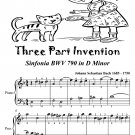 Three Part Invention Sinfonia BWV 790 in D Minor Easiest Piano Sheet Music Tadpole Edition PDF