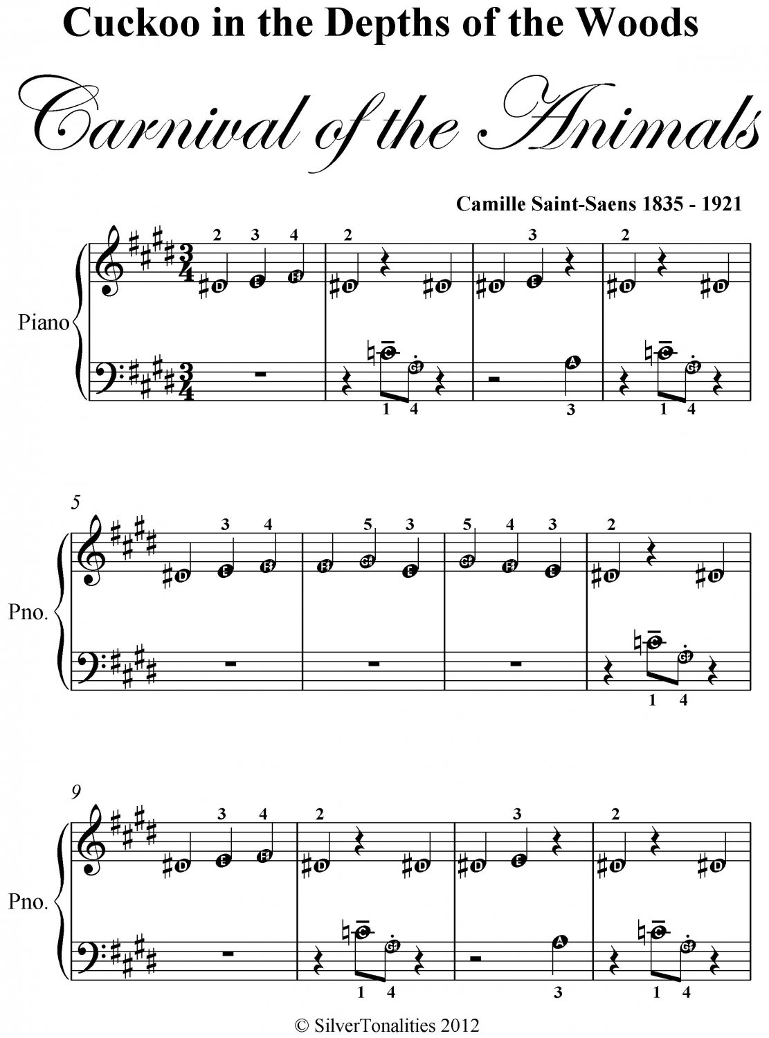 Cuckoo In the Depths of the Woods Carnival of the Animals Beginner Piano Sheet Music PDF