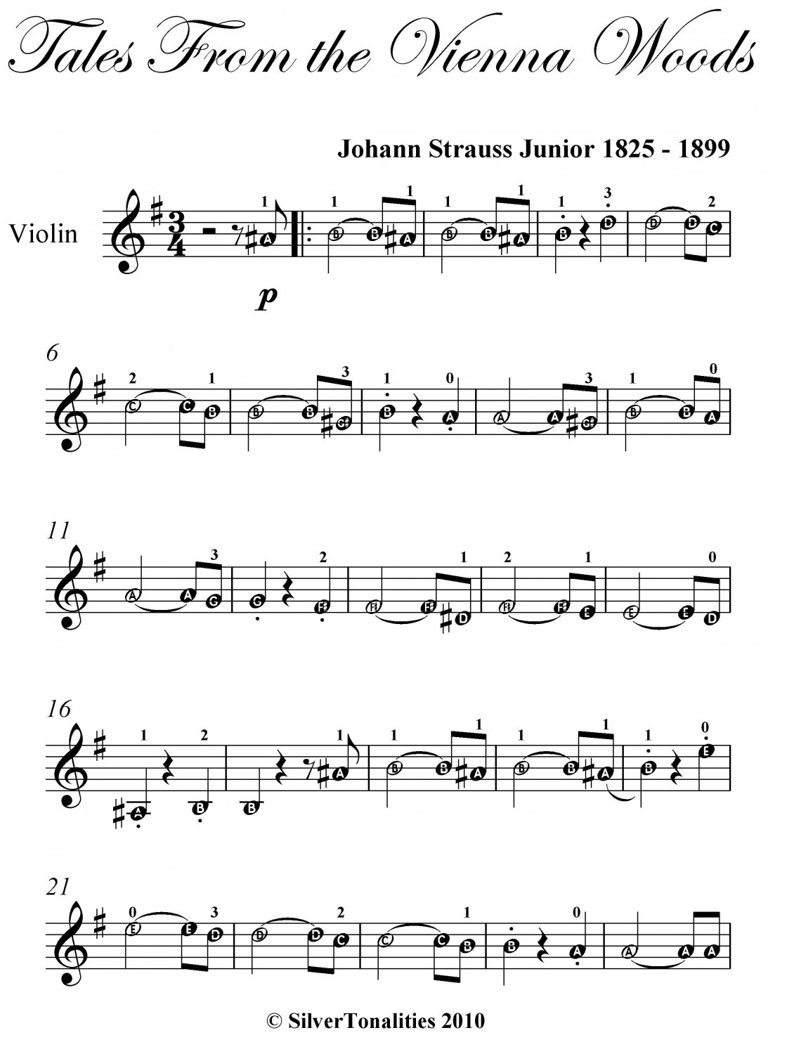 Tales from the Vienna Woods Easy Violin Sheet Music PDF