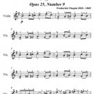 Butterfly Etude Opus 25 Number 9 Easy Violin Sheet Music PDF