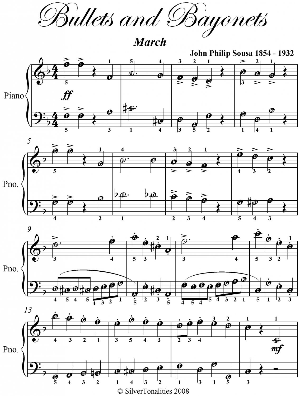Bullets and Bayonets March Easy Piano Sheet Music PDF