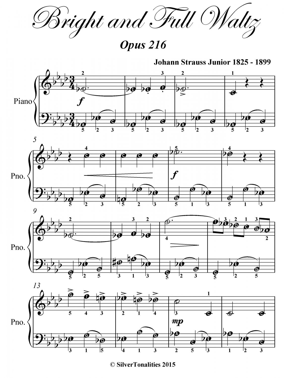 Bright and Full Waltz Opus 216 Easy Piano Sheet Music PDF