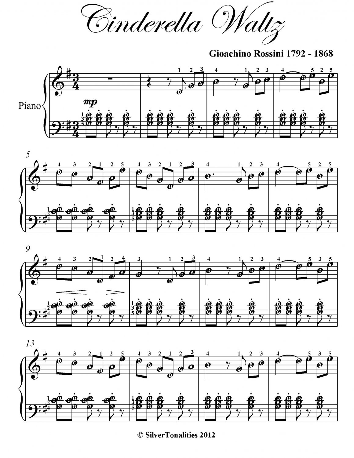 Cinderella Waltz Easy Intermediate Piano Sheet Music PDF