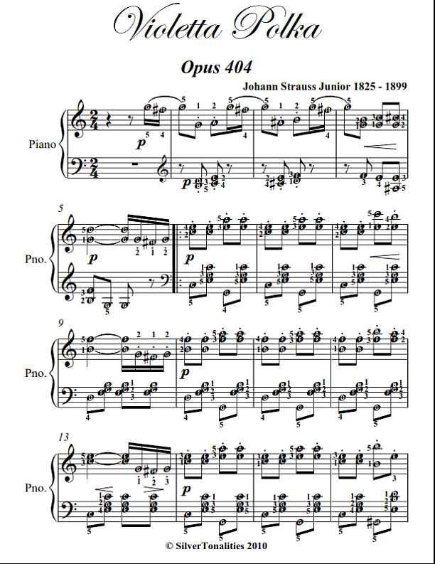 Violetta Polka Opus 404 Easy Intermediate Piano Sheet Music PDF