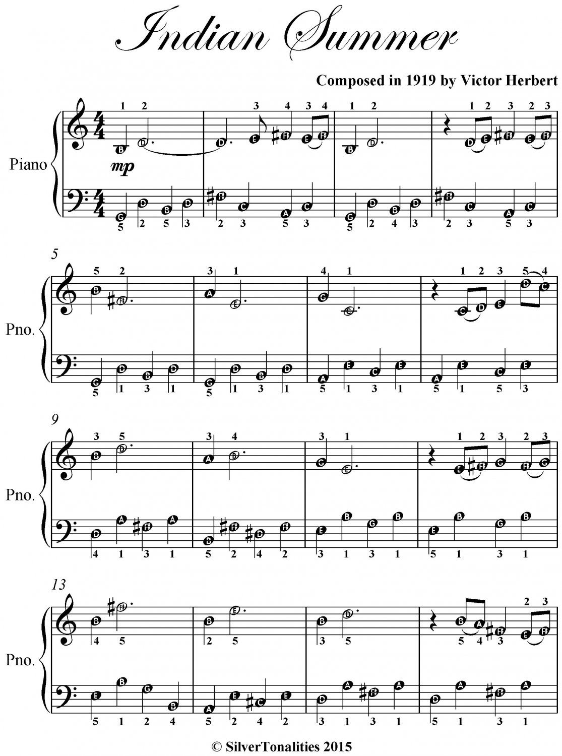 Indian Summer Easiest Piano Sheet Music PDF