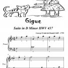 Gigue Suite in D Minor Hwv 437 Easiest Piano Sheet Music Tadpole Edition PDF