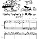 Little Prelude in D Minor Bwv 935 Easiest Piano Sheet Music Tadpole Edition PDF
