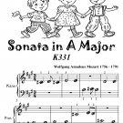 Sonata in A Major K331 Beginner Piano Sheet Music Tadpole Edition PDF