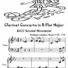Clarinet Concerto in B Flat k622 2nd Movement Beginner Piano Sheet Music Tadpole Edition PDF