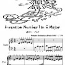 Invention Number 1 in C Major BWV 772 Beginner Piano Sheet Music Tadpole Edition PDF