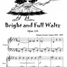 Bright and Full Waltz Opus 216 Easy Piano Sheet Music Tadpole Edition PDF