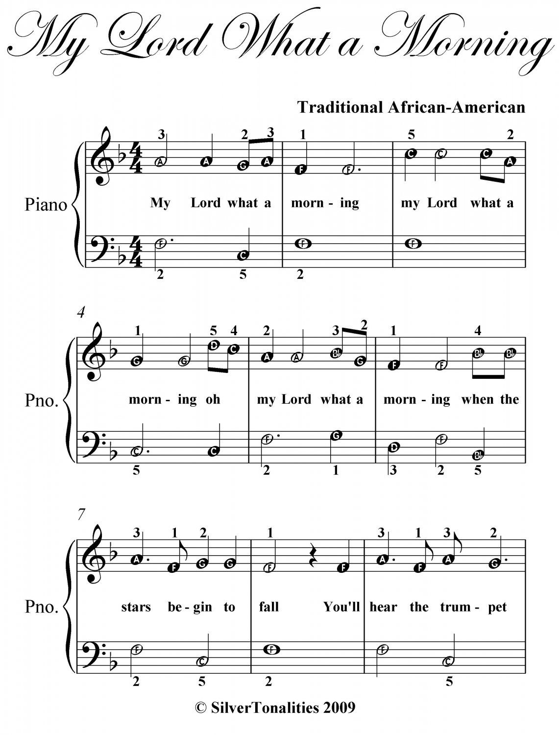 My Lord What a Morning Easy Piano Sheet Music PDF