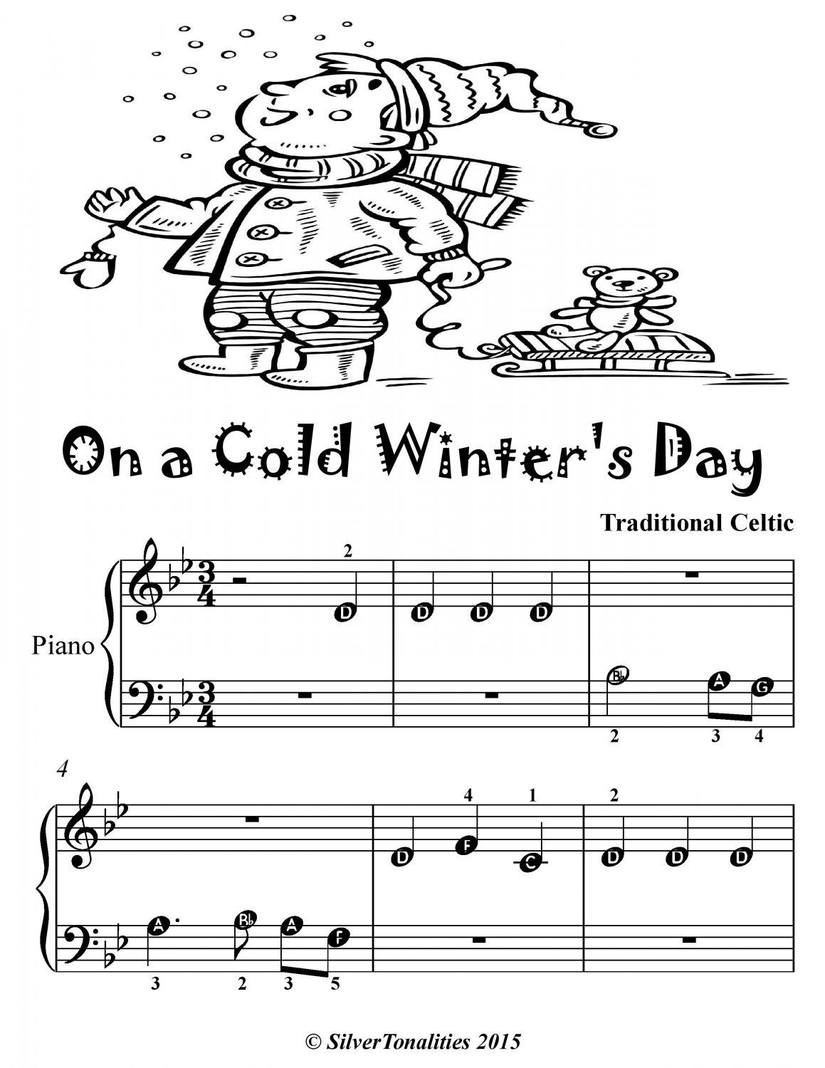 On a Cold Winter�s Day Beginner Piano Sheet Music Tadpole Edition PDF