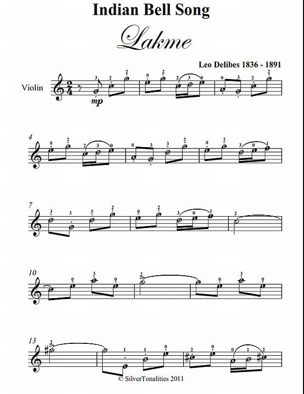 Indian Bell Song Lakme Easy Violin Sheet Music PDF