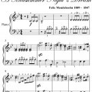 Wedding March Midsummer Night's Dream Elementary Piano Sheet Music PDF