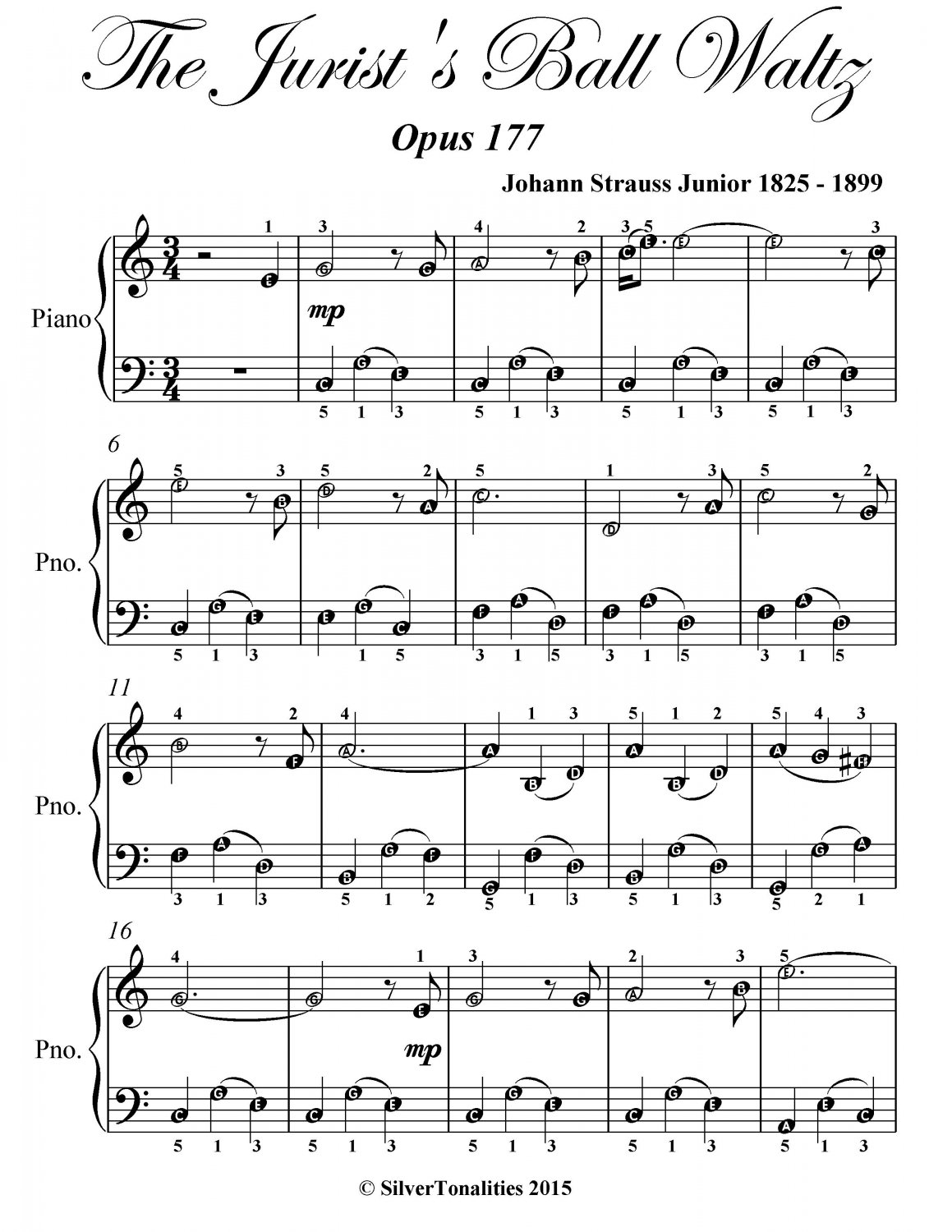 Jurist�s Ball Waltz Opus 177 Easy Piano Sheet Music PDF