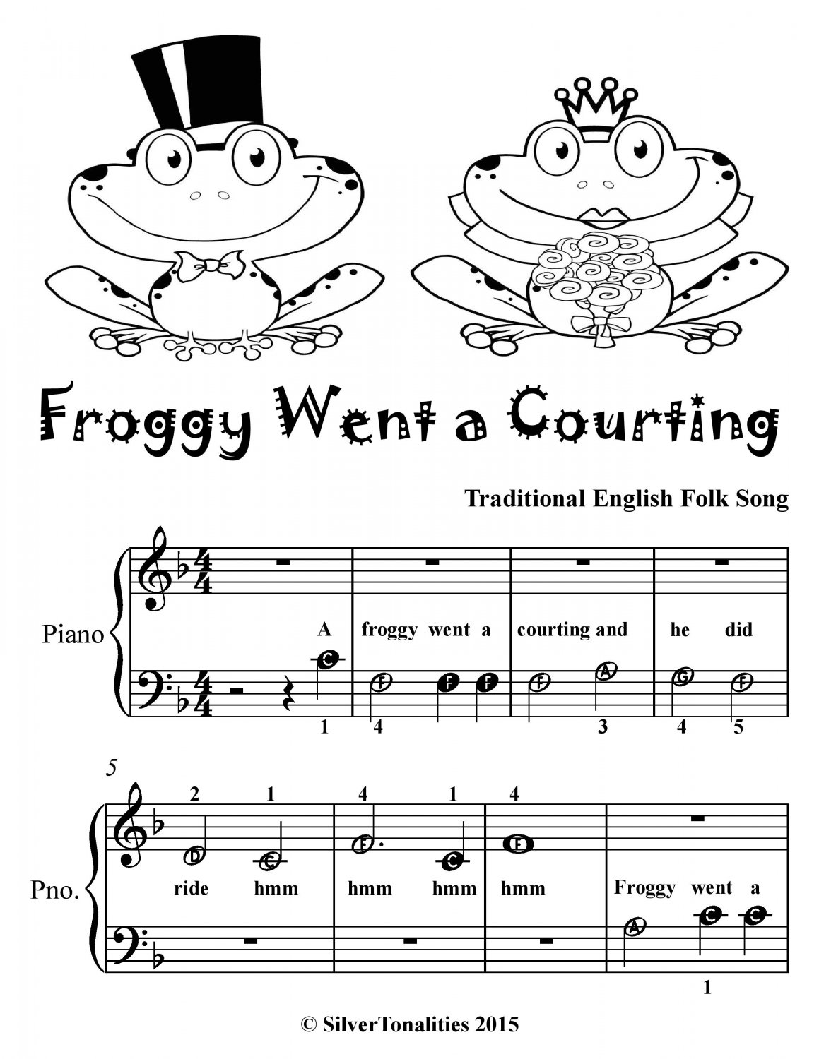 Froggy Went a Courting Beginner Piano Sheet Music Tadpole Edition PDF