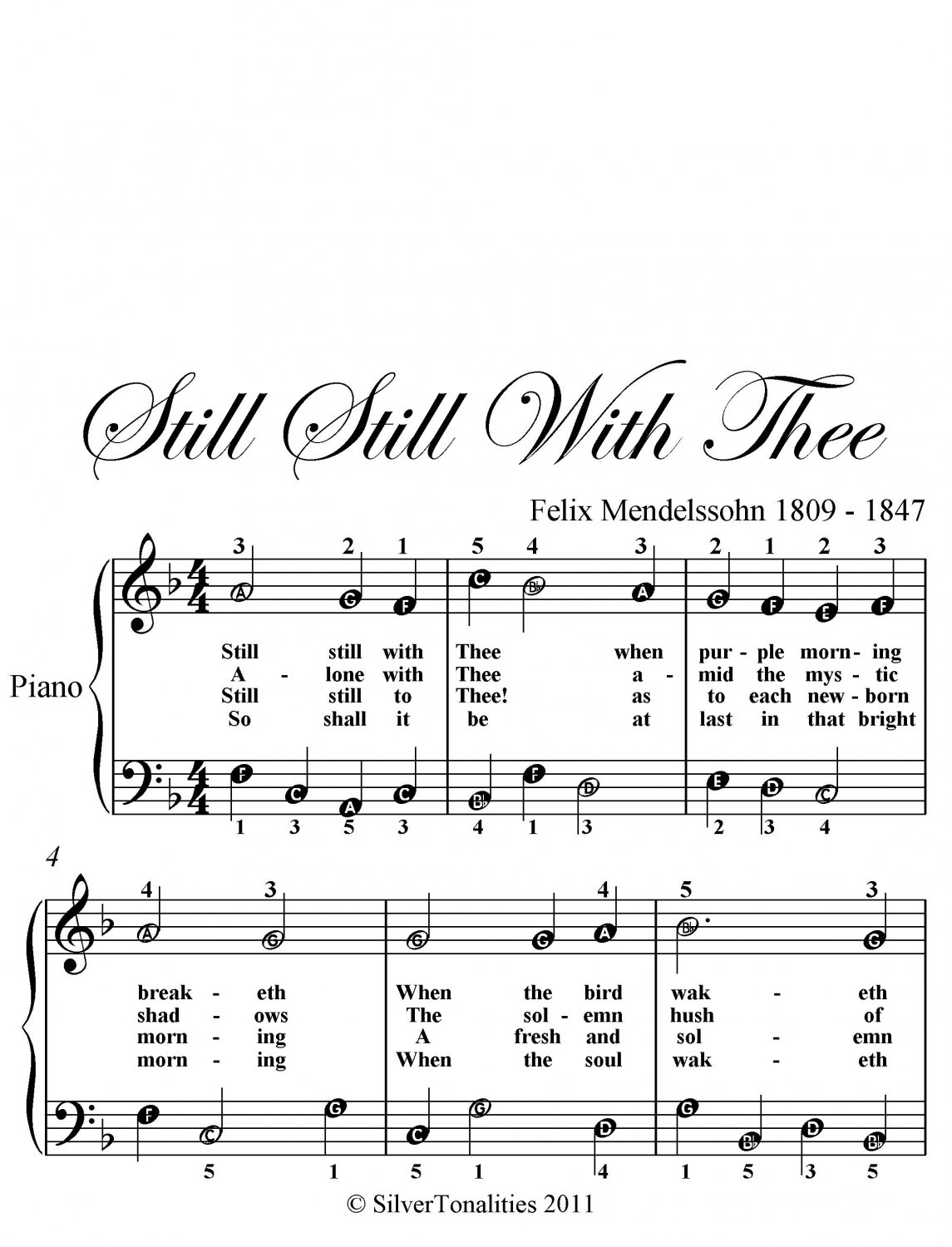 Still Still With Thee Easy Piano Sheet Music PDF