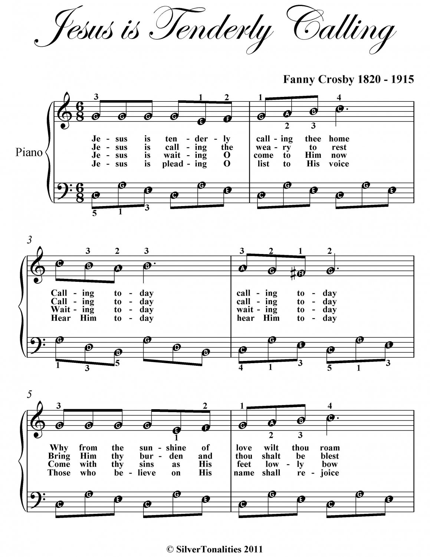 Jesus Is Tenderly Calling Easy Piano Sheet Music PDF