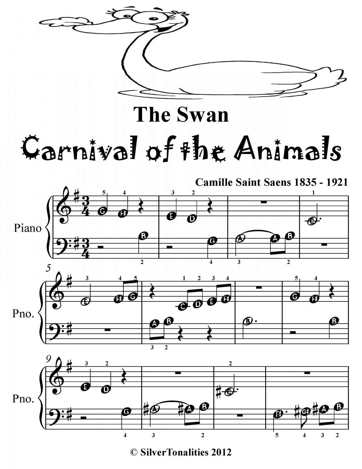 The Swan Carnival of the Animals Beginner Piano Sheet Music Tadpole Edition PDF