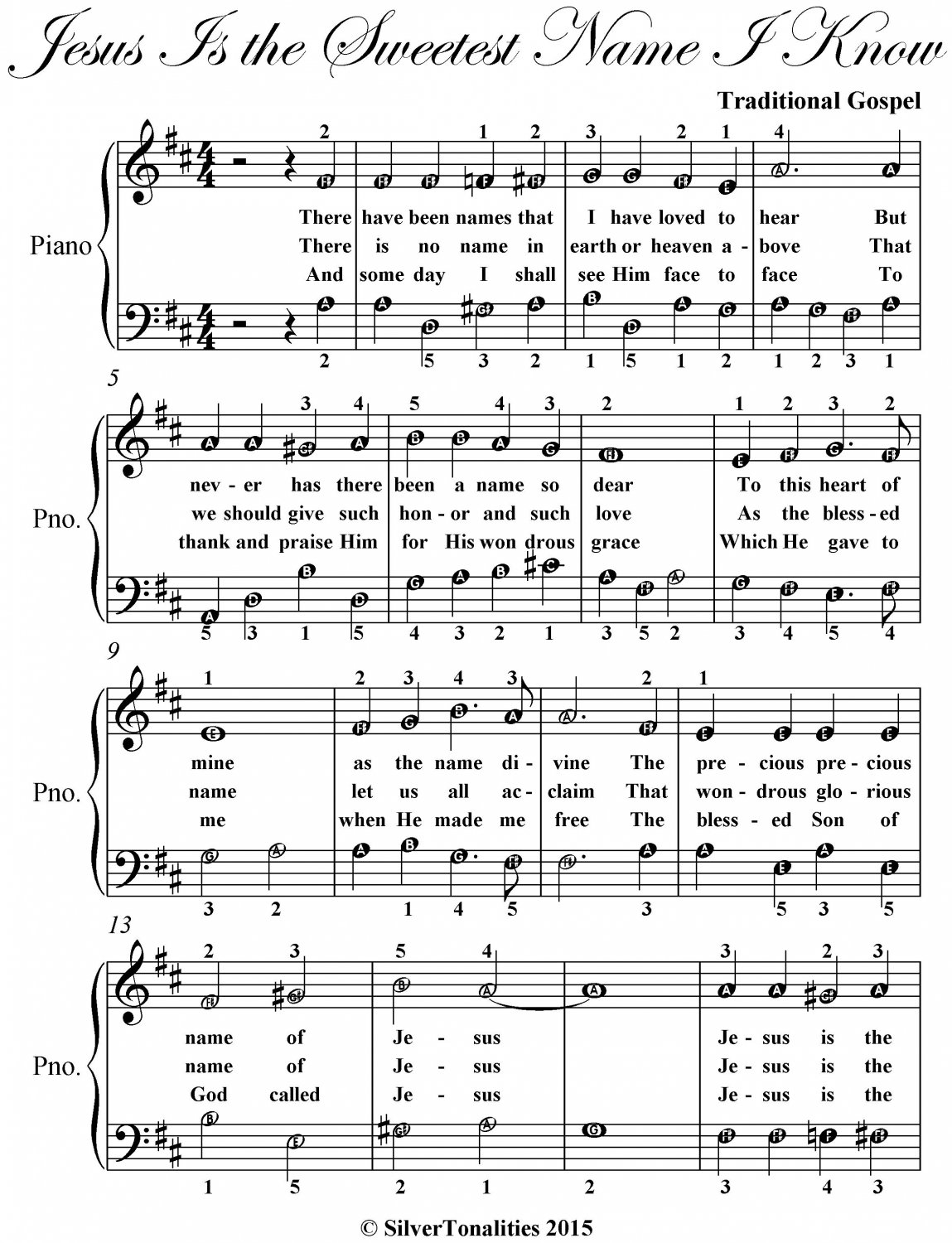 Jesus Is the Sweetest Name I Know Easy Piano Sheet Music
