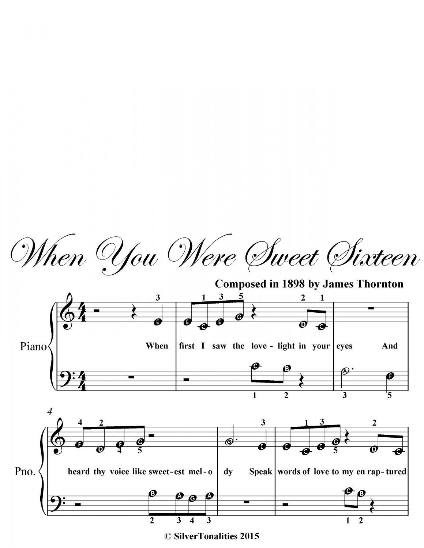 When You Were Sweet Sixteen Beginner Piano Sheet Music PDF