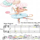 The Neapolitan Dance Swan Lake for Easy Piano Sheet Music with Colored Notes