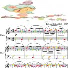 Morning Peer Gynt Suite Easy Piano Sheet Music with Colored Notes