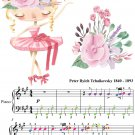Dance of the Little Swans Easy Elementary Piano with Colored Notes